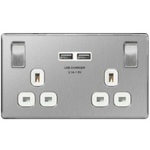 British General FBS22U3W 2 Gang 13A Switched SP Socket with 2 x USB, Screwless Brushed Steel with White Inserts