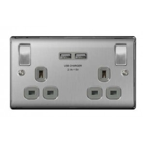 British General NBS22UG-01 2 Gang 13A Switched SP Socket with 2 x USB, Brushed Steel with Grey Inserts