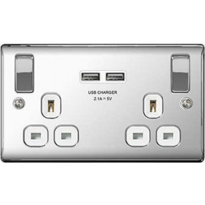 British General NPC22U3W 2 Gang 13A Switched SP Socket with 2 x USB, Polished Chrome with White Inserts