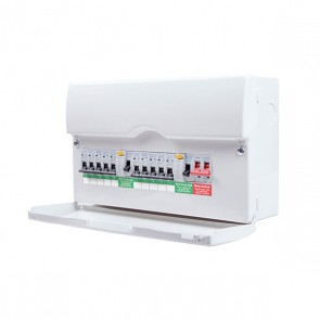 British General CFDP18610  Metal Amendment 3 Dual RCD & High Int Populated 10 way Consumer Unit with 100A switch & 2x 63A 30mA, 16 Modules