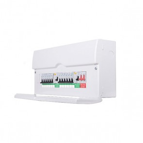 British General CFDP18616 Metal Amendment 3 Dual RCD & High Int Populated 16 Way Consumer Unit with Switch & 12 MCBs, 22 Module