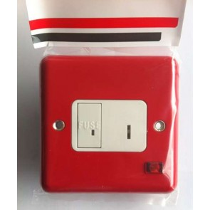 Contactum 3467RS Red 13A DP Key Switch Connection Unit with Neon, Flush Mounting No Back Box - Metalclad Red, White Insert & Recessed Rocker.
