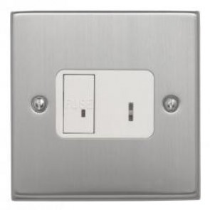 Contactum S3366/5BSW 13A DP Key Switch Spur Connection Unit with Brushed Steel, White Insert