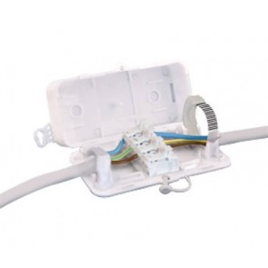 HYLEC DEKSB-003, Junction Box, In-Line Connector Box c/w 16A 4P, Term Block Screwless, Finish: White Polypropylene