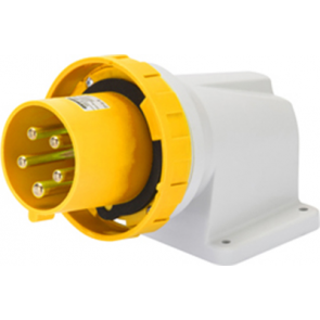 Gewiss GW61445 90° Angled Surface Mounting Appliance Inlet IP67, 2P+E, 63A, 100-130V, 50/60HZ, 4H, Mantle Terminal,Yellow