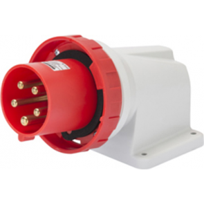 Gewiss GW61452 90° Angled Surface Mounting Appliance Inlet IP67, 3P+E, 63A, 380-415V, 50/60HZ, 6H Mantle Terminal, Red