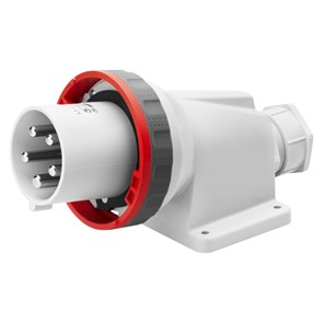Gewiss GW61453 90° Angled Surface Mounting Appliance Inlet IP67, 3P+N+E,  63A, 380-415V 50/60HZ, 6H, Red Mantle Terminal