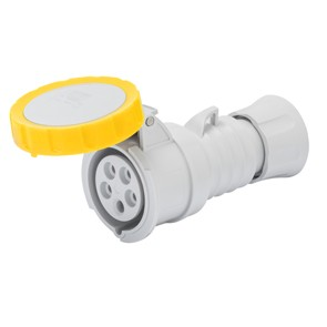 Gewiss GW62023H Straight Connector HP IP66 / IP67 / IP68 / IP69, 2P+E, 16A, 100-130V, 50/60HZ, Yellow 4H Screw Wiring