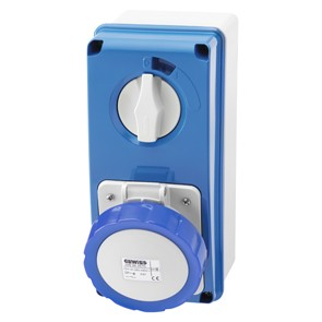 Gewiss GW66204N Vertical Fixed Interlocked Socket  Outlet, with Bottom, 2P+E, 16A, 230V, 6H, SBF, IP67