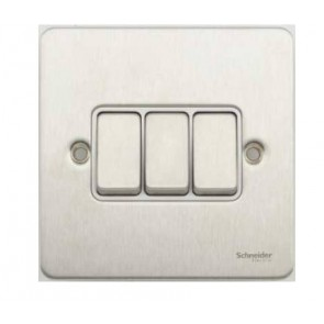 Schneider GU1232WSS Ultimate Flat plate - 1-pole 2-way plate switch - 3 gangs - stainless steel