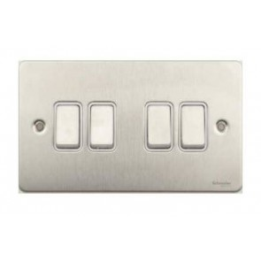 Schneider GU1242WSS Ultimate Flat plate - 1-pole 2-way plate switch - 4 gangs - stainless steel