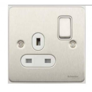 Schneider GU3210WSS Ultimate Flat plate - switched socket - 1 gang - stainless steel