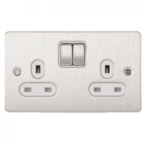 Schneider GU3220WSS Ultimate Flat plate - switched socket - 2 gangs - stainless steel
