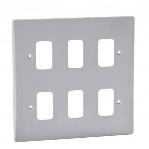 Schneider GUG06G Ultimate Grid 6 Gang Moulded Plate in White - Buy online from Sparkshop