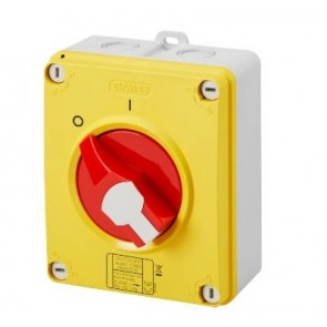 Gewiss GW70436P Switch, Isolator Rotary 4P Emergency IP69, Insulated Box c/w Lockable Knob, Size: 32A 125x150x75.5mm