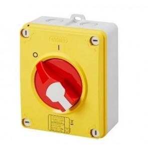Gewiss GW70438P Switch, Isolator Rotary 4P Emergency IP69, Insulated Box c/w Lockable Knob, Size:63A 156x200x95mm