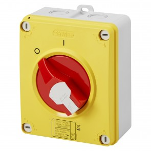 Gewiss GW70437P 63A 3 Pole IP66/67/69 HP Isolating Material Box Emergency Isolator with Lockable Red Knob - Buy online from Sparkshop