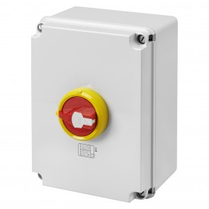 Gewiss GW70494P Isolator HP Emergency 125A 4P IP66/67/69 Isolating Material Box with Lockable Red Knob - Buy online from Sparkshop
