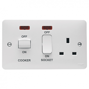 Hager Sollysta WMCC50N White Moulded 45A Cooker Control Unit with LED Indicator