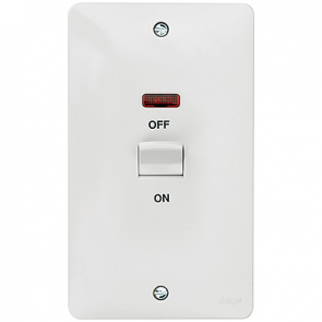 Hager Sollysta WMDP50VN White Moulded 50A Double Pole Switch 2 Gang Vertical with LED Indicator
