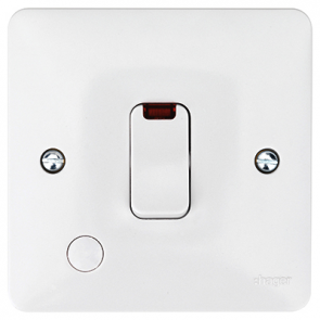 Hager Sollysta WMDP84FON White Moulded 20A Double Pole Switch with LED Indicator & Flex Outlet
