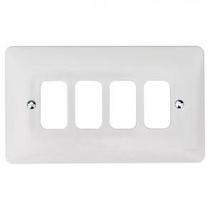 Hager Sollysta WMGP4 4 Gang White Moulded Grid Plate
