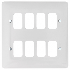 Hager Sollysta WMGP8 8 Gang White Moulded Grid Plate