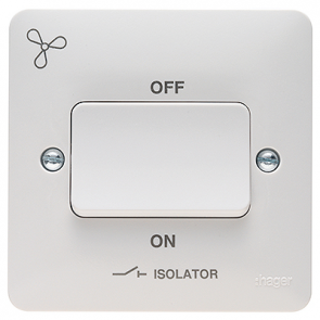Hager Sollysta WMPS3PIF White Moulded 3 Pole Isolator Switch with Fan Symbol