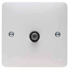 Hager Sollysta WMSAT White Moulded Single F Type Satellite Outlet Screened