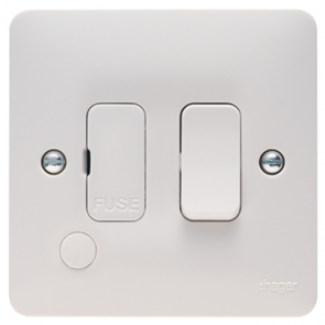 Hager Sollysta WMSSU83FO White Moulded 13A FCU Switched with Flex Outlet