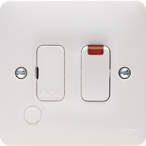 Hager Sollysta WMSSU83FON White Moulded 13A FCU Switched with LED Indicator and Flex Outlet