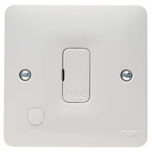 Hager Sollysta WMSU83FO White Moulded 13A FCU Unswitched with Flex Outlet
