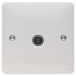 Hager Sollysta WMTVF White Moulded Single Co-ax TV Socket Outlet Female