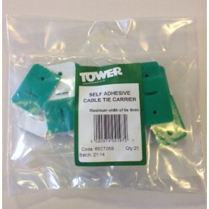 Tower 65CT05B Cable Tie Self Adhesive Carrier 5mm Pack of 25