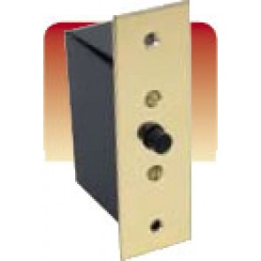 Jeani 140WB Door Switch, Flush, Push to Break c/w Back Box, Brass Plate