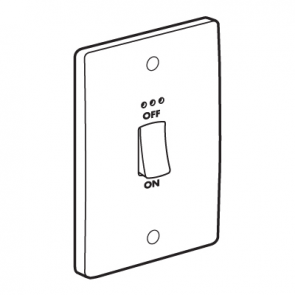 Legrand Synergy 730021 Double Pole Switch with Red LED Power Indicator 45A 250V 2 Gang Size