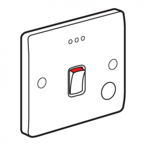 Legrand Synergy 730016 Double Pole Switch with Flex Outlet and Red LED Power Indicator 20A 250V