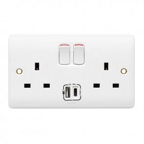 Legrand 730079 Socket, 2 Gang Switched USB, 13A, Finish: White