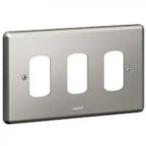 Legrand Synergy 733193 2 Gang 3 Module Grid Plate Brushed Steel