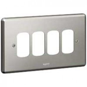 Legrand Synergy 733194 2 Gang 4 Module Grid Plate Brushed Steel