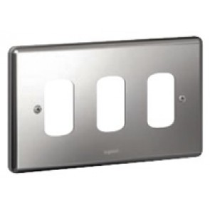 Legrand Synergy 733393 2 Gang 3 Module Grid Plate Polished Steel
