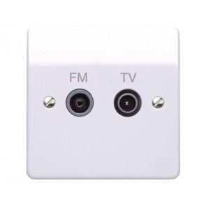 MK Logic K3552WHI Socket, Twin TV/FM Diplexer