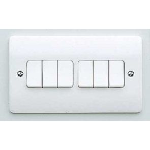 MK Logic K4879WHI Plate Switch, 10A 6 Gang 2 Way SP