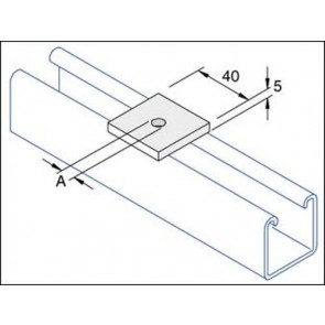 Unistrut Channel P1020, Washer, Square Plate, Size:M10/M12x41x5mm
