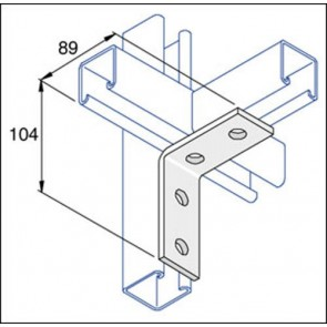 Unistrut Channel P1325 Bracket, 90Deg 4 Hole, Size:	104x89mm