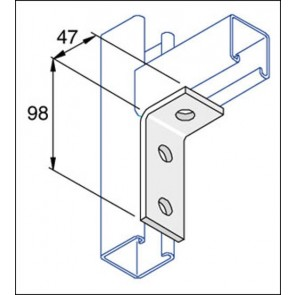 Unistrut Channel P1346 Bracket, 90Deg 3 Hole, Size:	98x47mm