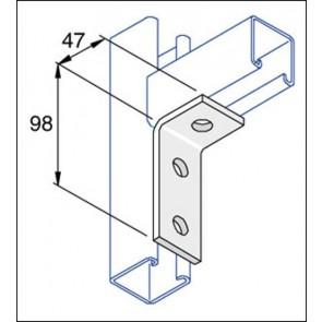 Unistrut Channel P1346 Bracket, 90Deg 3 Hole, Size:98x47mm