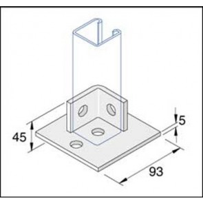 Unistrut Channel P2072-S1, Baseplate, c/w 2 Hole 90Deg Bracket for 1, Channel Section, Size: 100x45mm