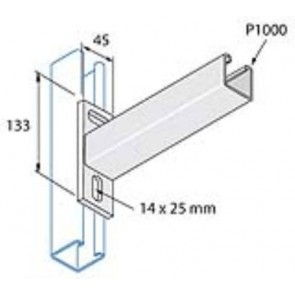 Unistrut Channel P2663/750 Cantilever Arm, for P1000 Channel, Size: 41x41 Plain 750mm