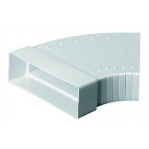 Polypipe Domus 545, Supertube, Rigid Duct, 204 x 60mm, Horizontal Bend With Cutting Guides, Adjust Up To 45º, White
